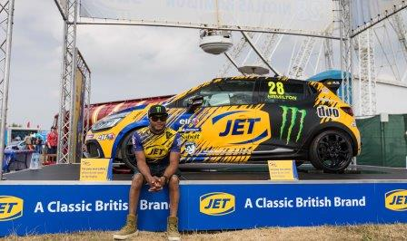 Nic Hamilton with his JET-sponsored RCC race car